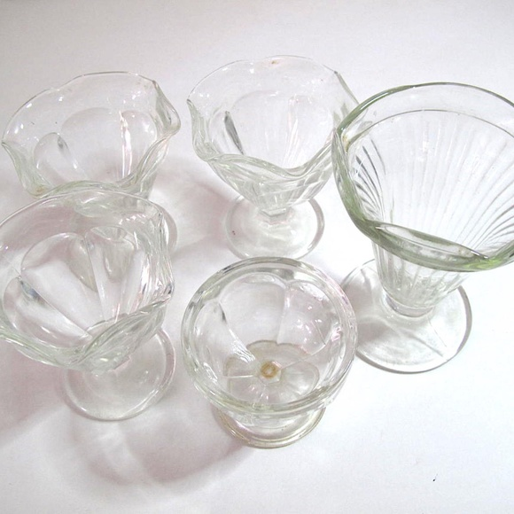 Vintage Soda Style Dessert clear Cups set of 5